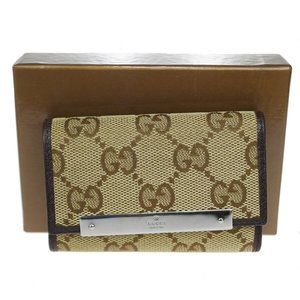 Gucci GG Pattern Canvas Leather Key Case Brown